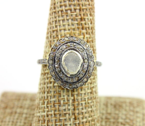 Sincere 925 Sterling Silver Antique Rose Cut Polki Ring Victorian Vintage Diamond Ring Diamond