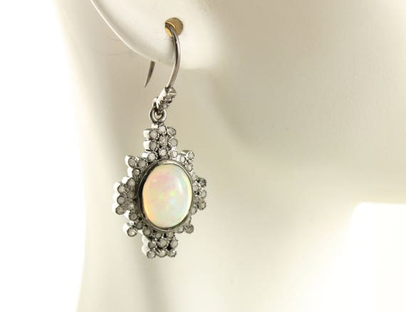 Boucles d'oreilles diamant de pavé, boucles pavé de diamant et boucles pavé, d'oreilles opale, pavé de diamants boucles d'oreilles, boucles d'oreilles opale de diamant (DER-128) 38034f