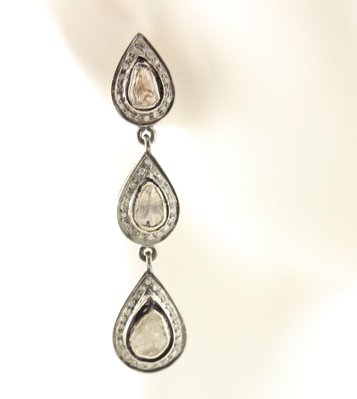 Pose diamant boucles d'oreilles, pavé de coupe diamants boucles boucles boucles d'oreilles Rose, Rose coupe diamants boucles d'oreilles, boucles d'oreilles diamant, argent oxydé (d'oreil-080) a18eb5