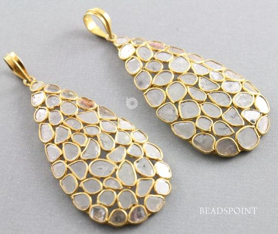 Pendentif diamant de pavé, pavé pavé pavé, de poire Rose Cut pendentif, pendentif Rose diamant taillé en poire, poire Rose Cut pendentif, pendentif diamant en forme de poire (DP-1656) ab6251