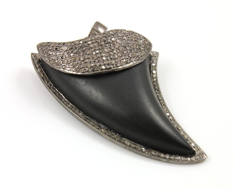 Pavé Pavé Pavé de pendentif diamant, dent de requin de Onyx noir pavé de pendentif, diamant noir Onyx, Onyx noir, dent de requin de pavé, pavé de connecteur. (PATRIMOINE/HAP/504) a5698c
