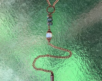 Turquoise, moonstone, and copper spike Y necklace
