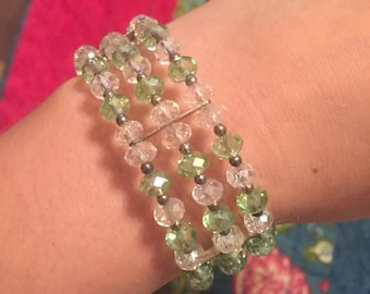 Green and Clear Coil Bracelet.