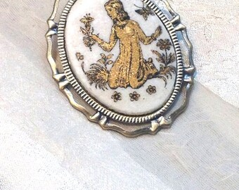 Vintage Cameo Upcycled to Convertible Brooch/Pendant Virgo the Virgin