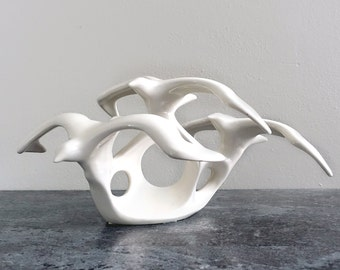 Vintage Ceramic Seagulls Figurine