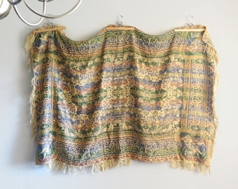 Antique Silk Brocade Camel Tablecloth