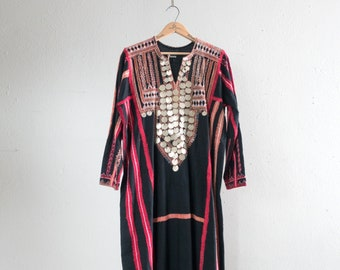 Vintage Bedouin Thobe Egyptian Kaftan with Coins