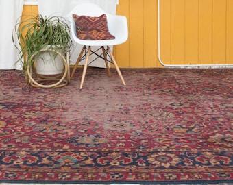 8x12 Vintage Distressed Sarouk Wool Carpet