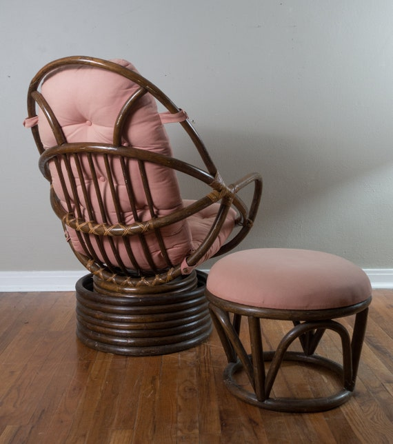 Stupendous Vintage Swivel Rattan Chair With Ottoman Pink And Brown Egg Chair Pabps2019 Chair Design Images Pabps2019Com