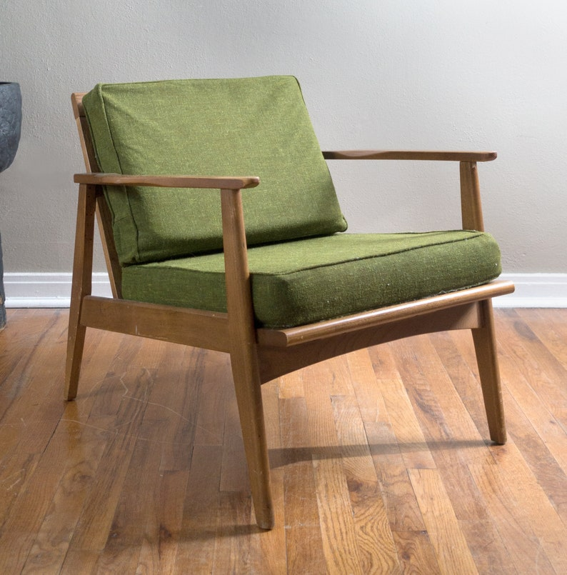Awesome Mid Century Danish Modern Lounge Chair Army Green Tweed All Original Dailytribune Chair Design For Home Dailytribuneorg