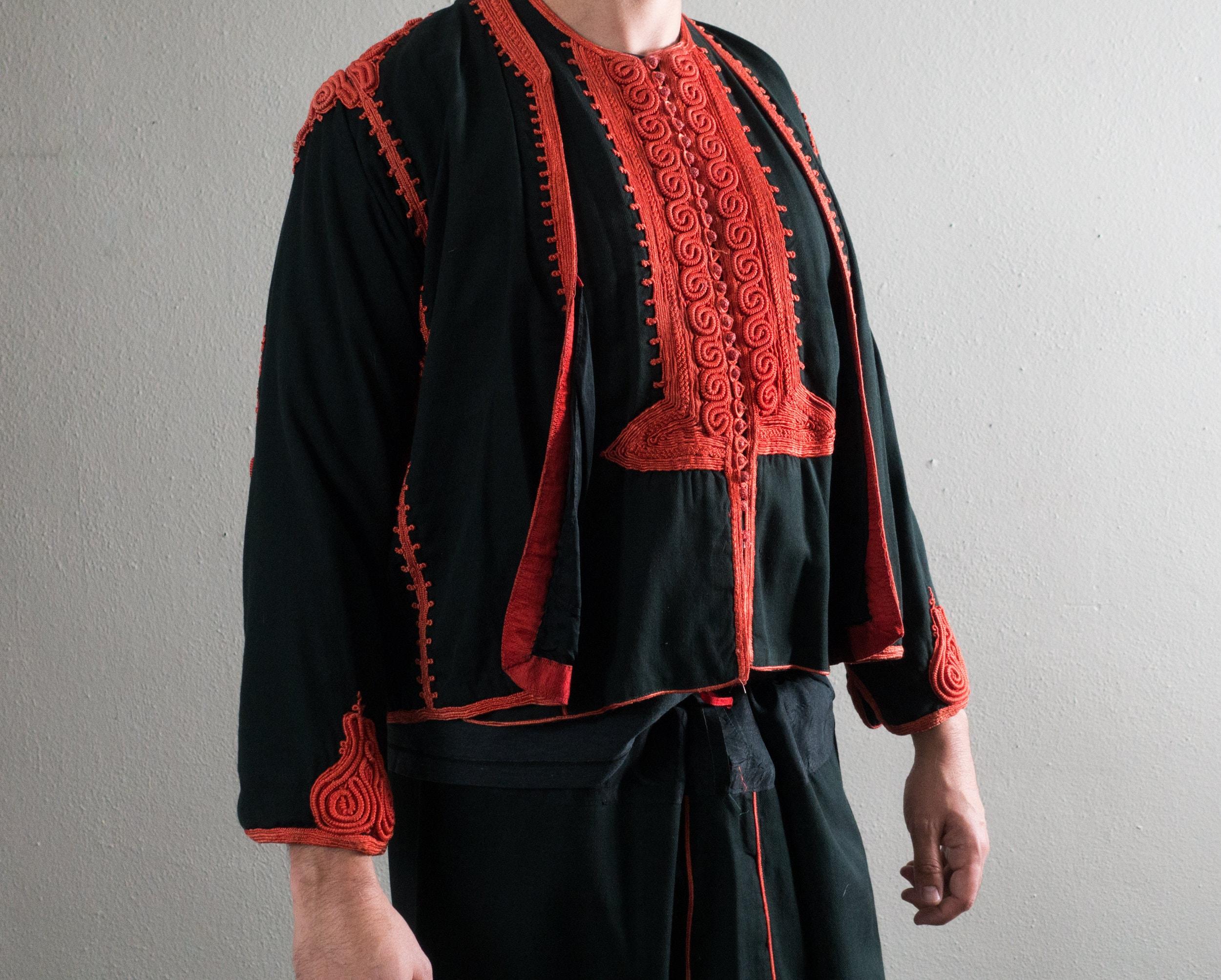 1950s Men's Ties, Bow Ties – Vintage, Skinny, Knit Vintage Libyan Badla Mens Black  Red Outfit $340.00 AT vintagedancer.com