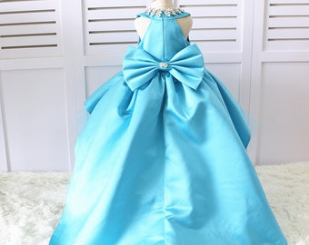 The Neira Long Tail Ocen Blue/ tiffany blue sequins Back Couture Flower Girl Dress, Toddler Pageant Dress, Girl Birthday Dress, LG016