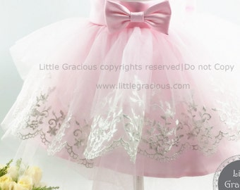 Pink Baby Girl Dress for Wedding,Infant Pageant Dress,Toddler Girl Dress, XR0014