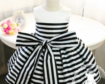 Toddler girl dresses etsy newborn girl dress with black and white stripes baby tutu 1st birthday newborn tututoddler girl dress birthday dress baby pd006 mightylinksfo