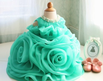 Green Organza Ruffle Flower Girl Dress Birthday 1 Year Old Toddler Thanksgiving Baby Christmas PD068 3