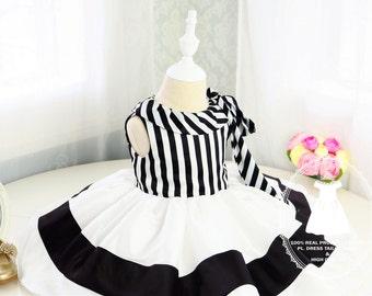 9f90c51adb7e Newborn Girl Dress with Black and White Stripes Baby Tutu 1st