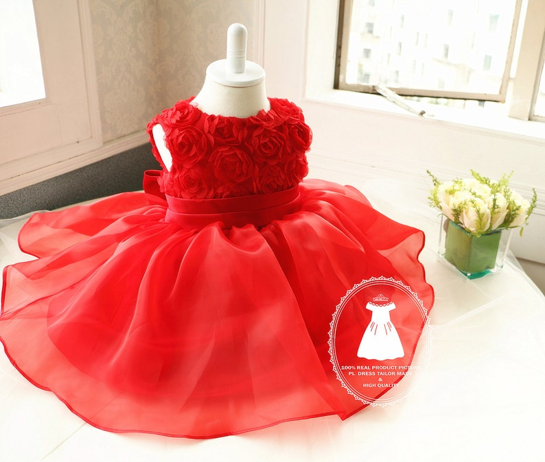 6170edc7c7 Hot Red Baby Girl Christmas Dress, Toddler glitz pageant dress, Infant  Easter Dress,Birthday Dress 1 Year Old, PD019
