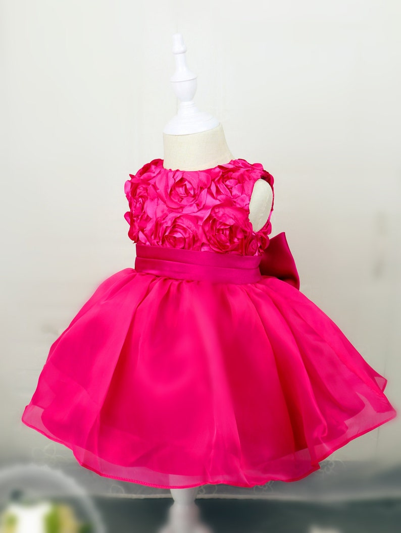 c08c54c56de4 Hot Pink Toddler Thanksgiving Dress Baby Christmas Dress