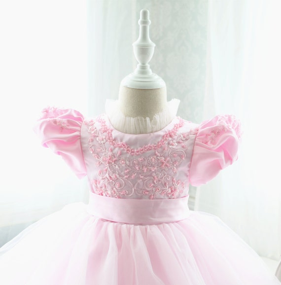 fc91cc3dce0b Pink Lace Top Baby Birthday Dress Thanksgiving Dress for