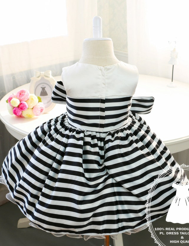 Newborn Girl Dress With Black And White Stripes Baby Tutu 1st