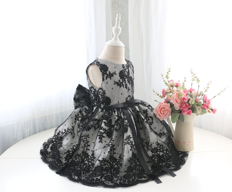 Black Lace Baby Flower Girl Dress Pageant Dress Sleeveless Toddler Thanksgiving Dress PD097-1 Birthday Dress Baby
