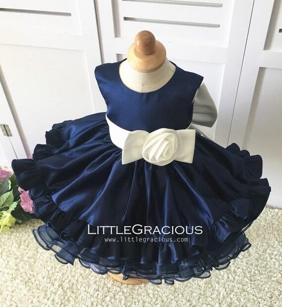 Navy blueToddlerInfantBabyNewborn Thanksgiving Dress Toddler, Baby Christmas Dress, Glitz Pageant Dress, Baby Girl Birthday Dress, LG008