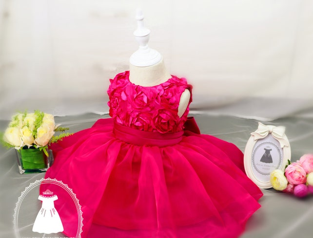 Christmas Dress Long Short Sleeve Hot Pink Baby Pageant DressBirthday 2 Year Old