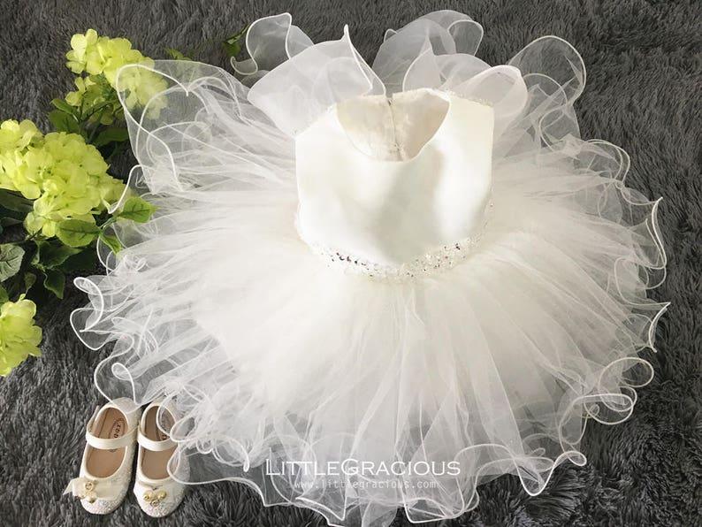 Toddler glitz pageant dress with Bling Bling,Flower Girl Dress Ivory,Newborn Girl Dress,Baby Girl Dress for Wedding PD008-2