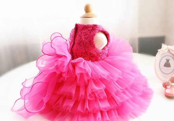 108063985afb Hot Pink Lace Birthday Dress for Baby Toddler Infant Infant