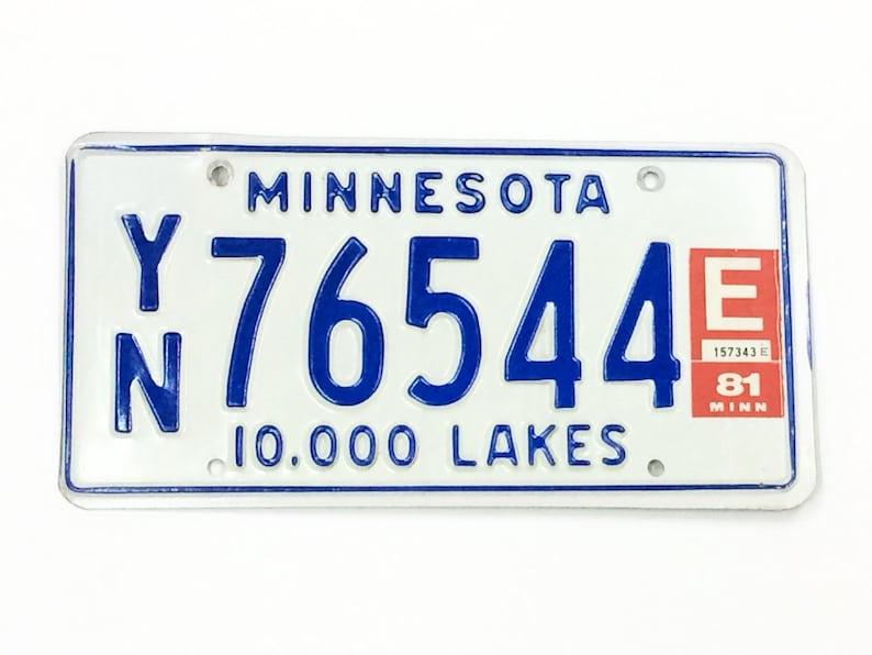 Vintage MN License PlateDistressed PlateBlue and White image 0