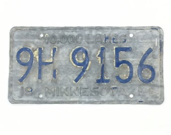 Vintage License Plate,Distressed Minnesota Plate,Blue and Metal,Minnesota Decor,ManCave Decor,Rustic Home Decor,Car Lover Gift,MN Gift Idea