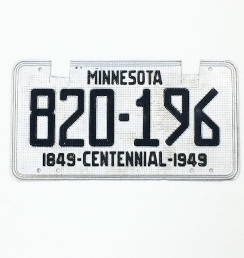 MN License Plate1949 Centennial PlateVintage Minnesota image 0
