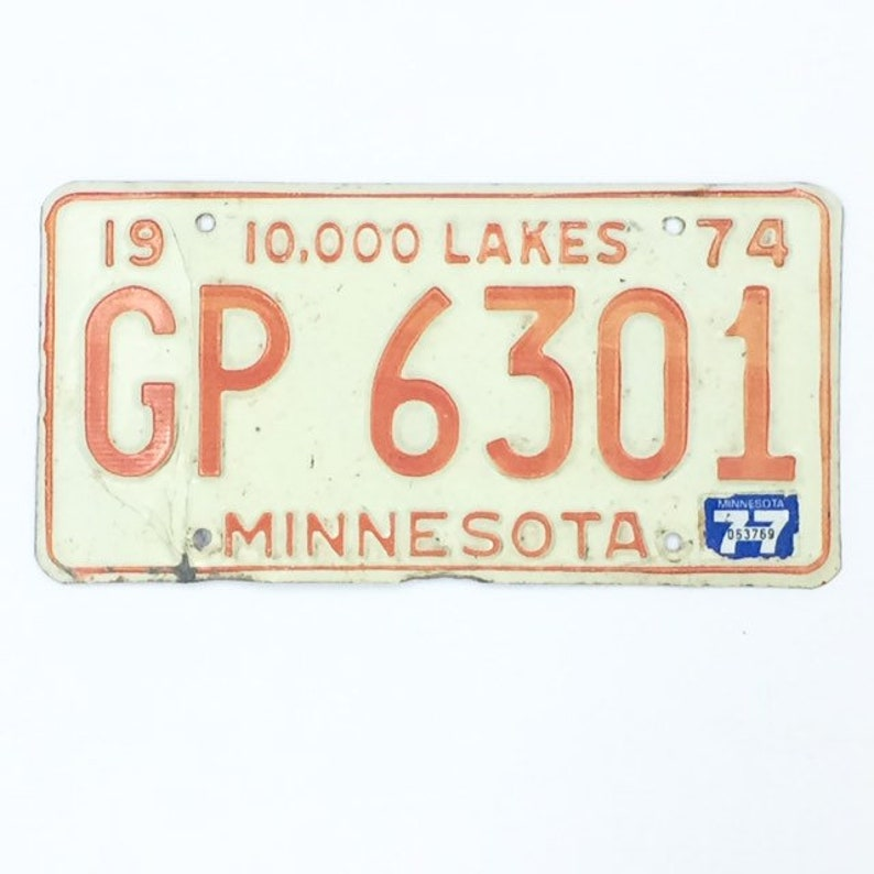 MN License Plate Distressed PlateOrange and White image 0