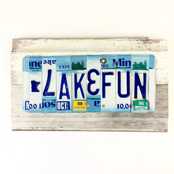 License Plate Sign Lake Fun Sign Minnesota Lake Fun Blue Etsy