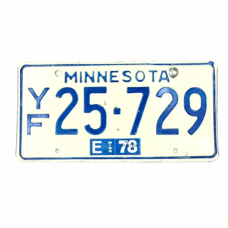 Vintage MN License PlateDistressed PlateWhite and Blue image 0
