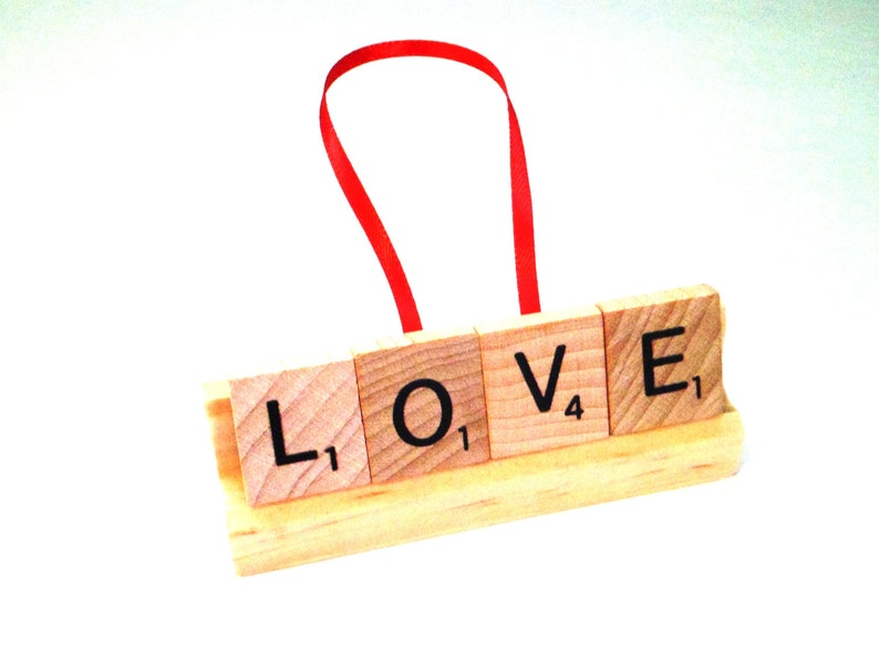 Love Ornament Scrabble Letter Art Scrabble Tile Decor image 0