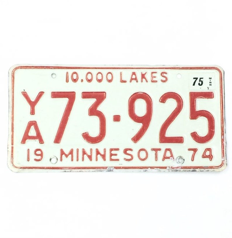 MN License Plate Distressed PlateRed and White PlateVintage image 0