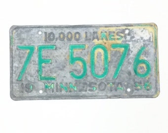 Vintage License Plate, Distressed Minnesota Plate, Green and Yellow, Minnesota Decor, Man Cave Decor, Rustic Home Decor, Car Lover Gift, MN