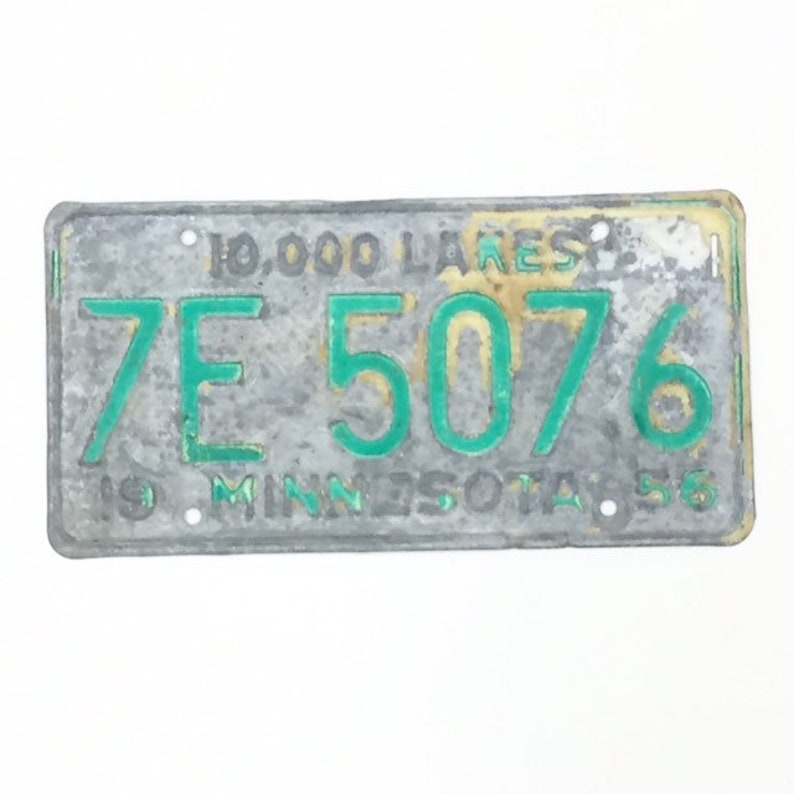 Vintage License Plate Distressed Minnesota Plate Green and image 0