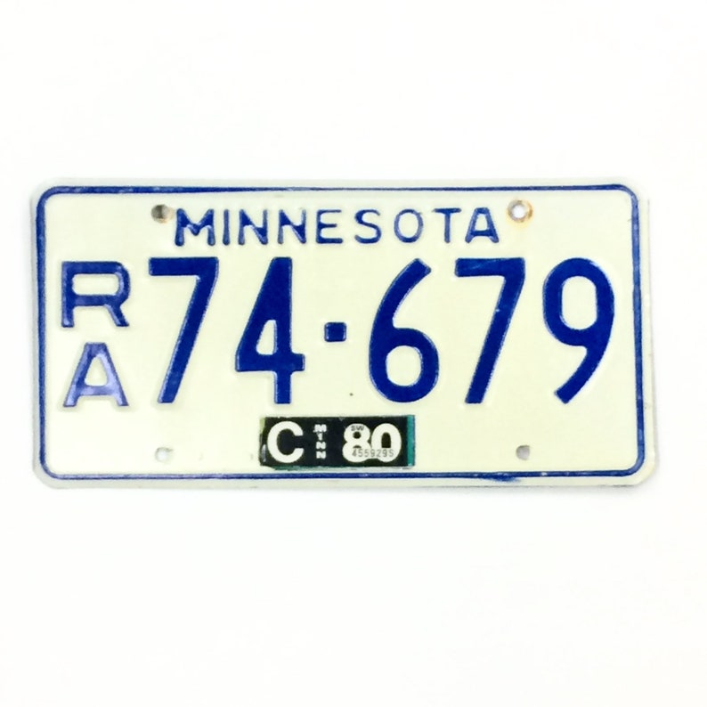 Minnesota License Plate  Distressed License Plate  Blue and image 0