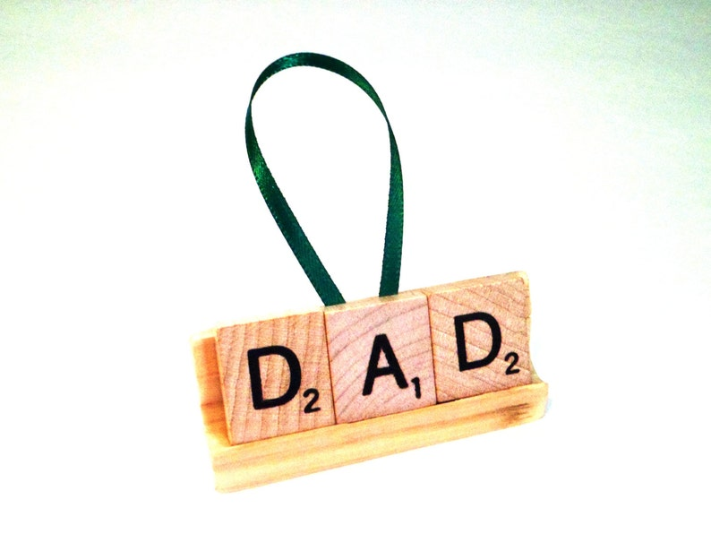 Personalized Xmas Gift  Dad Ornament  Scrabble Tile Gift  image 0