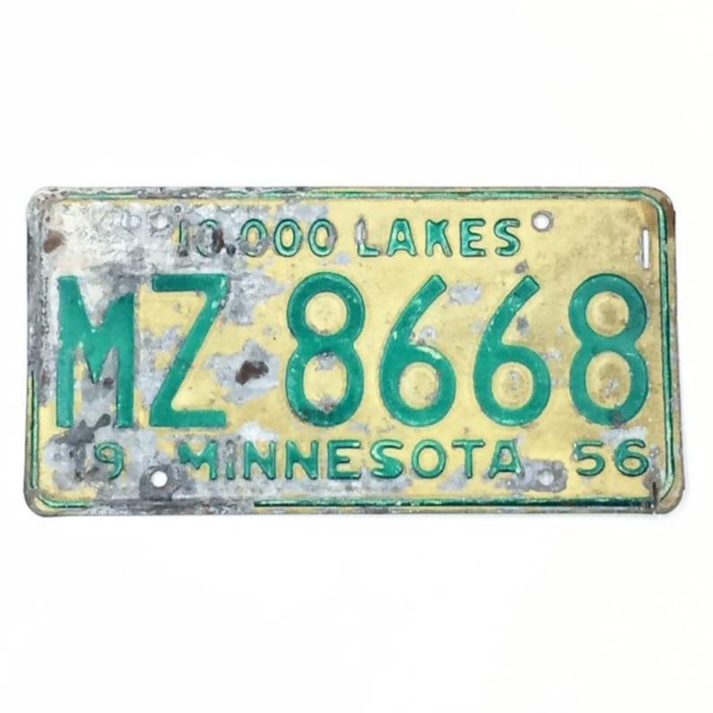 Vintage License PlateDistressed Minnesota PlateGreen and image 0