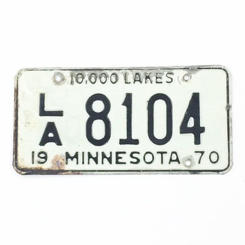 Vintage License PlateDistressed Minnesota PlateBlack and image 0