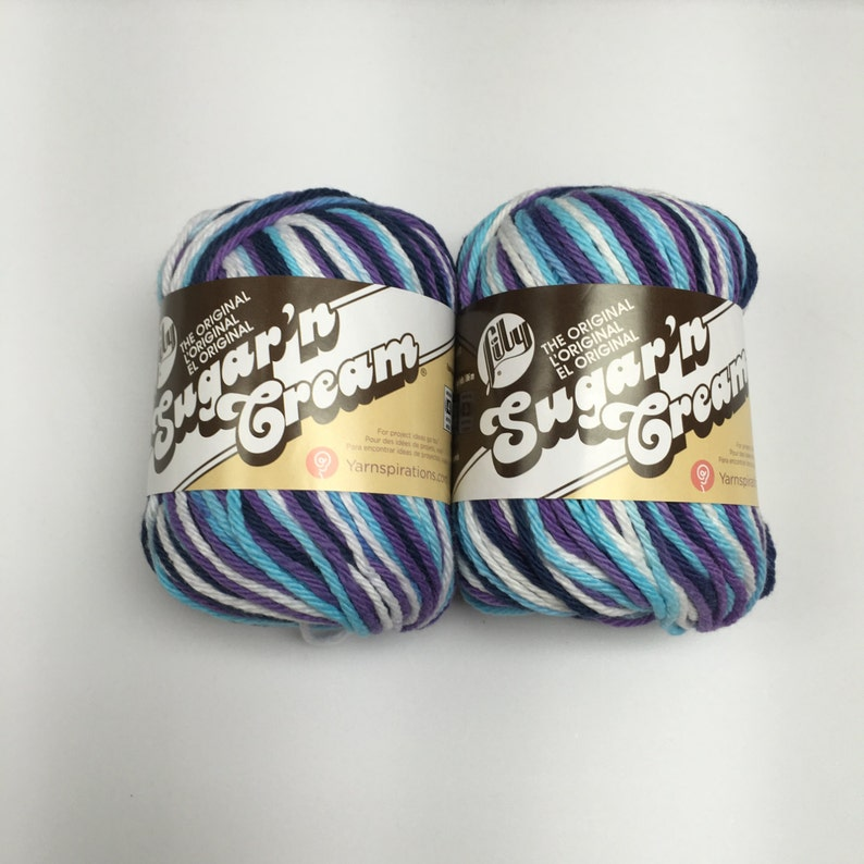 PURPLE and White ombre 2 Skeins by Lily Sugar n Cream MOONDANCE  Navy AQUA 100/% Cotton yarn