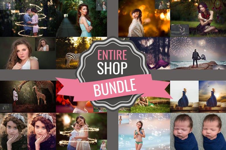 SALE: Entire Shop Photoshop Bundle - Photoshop Actions - Photoshop Overlays  - Photoshop Templates - Photoshop Brushes