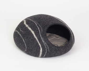Charcoal river stone felt cat bed cave safe kitty house