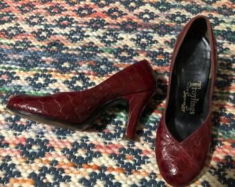 1940s vintage snake/alligator skin leather burgundy round toe stacked heels sz 6