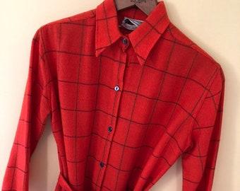 1960s Donald Davies orange red Irish wool belted shirt dress xs/s