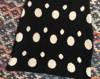 0da0f856ae 1980s black and white polka dot sweater mini skirt S/M
