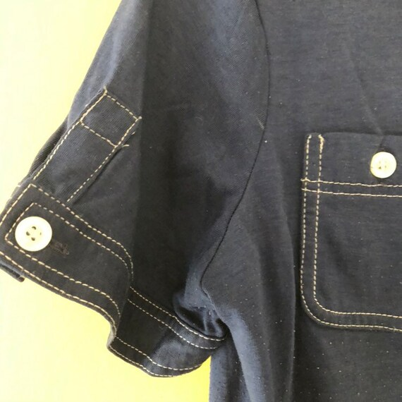 1970s super soft navy collared T-shirt / polo